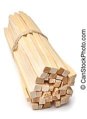 Birch waste wood for kindling on white background