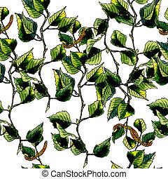 Birch watercolor seamless pattern