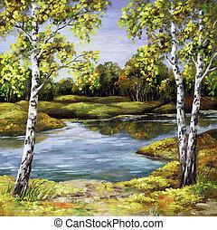 Landscape, picture oil paints on a canvas: birches on coast, autumn