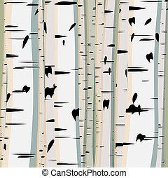 birches., troncos, ilustração