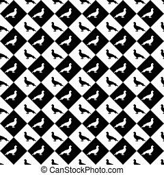 bird., ダイヤモンド, シルエット, パターン, seamless, ベクトル, デザイン, モノクローム, 芸術