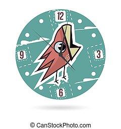 bird., ダイヤル, 子供, プレート。, 時計, イラスト, 顔