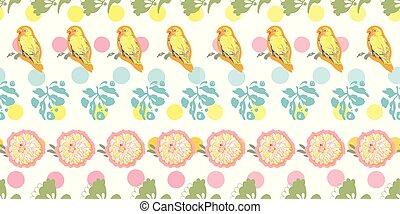 bird., パターン, 白, florals, 点