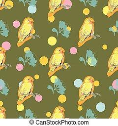 bird., パターン, 花, 緑