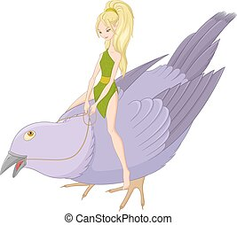 bird., 妖精, ベクトル, イラスト