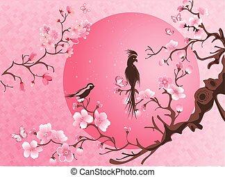 bird., 花, 木, 2, さくらんぼ