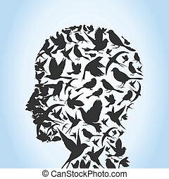 Bird a head - Head of the person from birds. A vector ...
