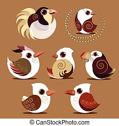Bird abstract vector collection