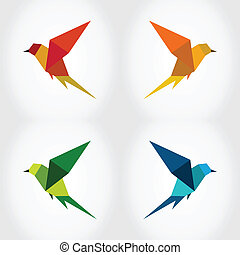 Bird abstraction - Bird in flight on a grey background. A...