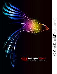 bird., abstrakt, vektor, design.