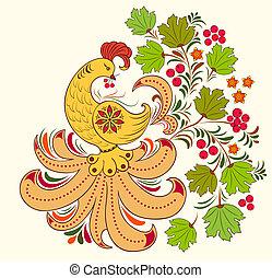 bird and autumn plant