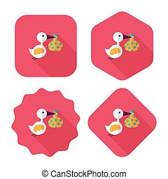 bird and baby flat icon with long shadow, eps10
