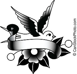 A tattoo-style drawing of a bird, flower and banner.