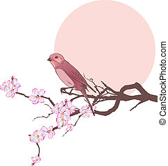 bird and branch of cherry tree