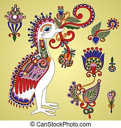 Bird and flower design element