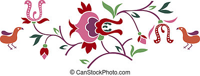 bird and flower emblem