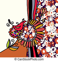 Bird and flowers background for greeting card