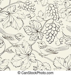 Bird and grape, seamless pattern.