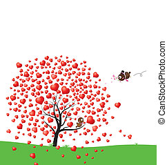Bird and heart tree design of love