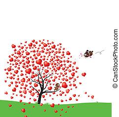 Bird and heart tree design of love