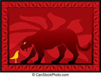 Bird and panther vector