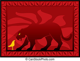 Bird and panther vector