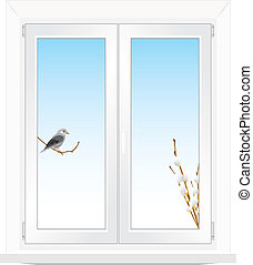 Bird and pussy willow in the window