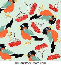 Bird and rowanberry - Bird and berry rowanberry on white...