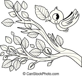 Bird and tree branch with leaves. Black and white coloring book page