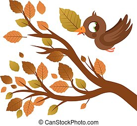 Bird and tree with dry leaves