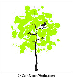 Bird and trees - Vector image of a green tree with a bird