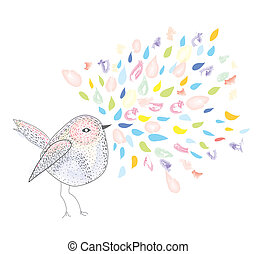Bird and watercolor splash card background