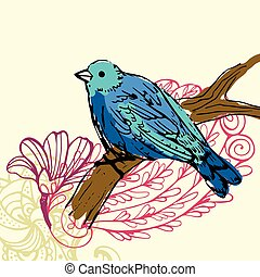 bird background - floral background with flowers and bird
