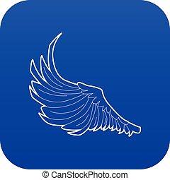 Bird big wing icon blue vector