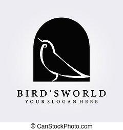 bird , bird's world logo vector illustration design , mini simple line art bird logo