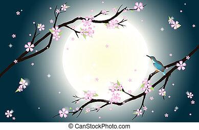 bird., blüte, stilisiert, hintergrund, kirschen