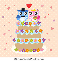 bird bride & groom on wedding cake - bird bride and groom on...