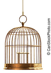 Bird Cage - A brass birdcage hanging on a string over white