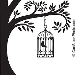 bird cage and tree - bird cage hanging from branch. vector...