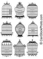 Bird Cage - illustration of set of different style bird cage