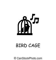 Bird cage flat vector icon