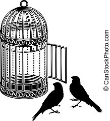 Bird cage - Metallic bird cage with open door and two bird...