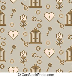 Bird cage romantic seamless vector pattern. Birdcage taupe...