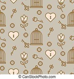 Bird cage romantic seamless vector pattern.