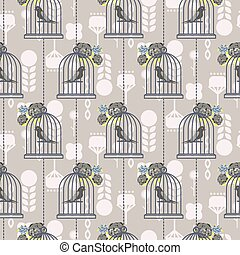 Bird cage romantic seamless vector pattern wallpaper.