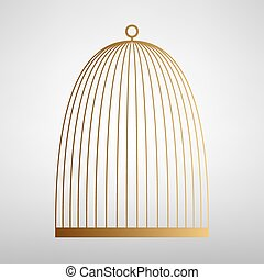 Bird cage sign. Flat style icon