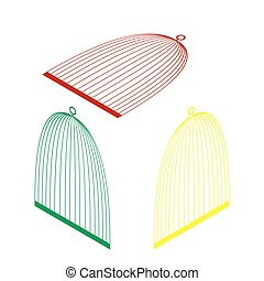 Bird cage sign. Isometric style of red, green and yellow icon.
