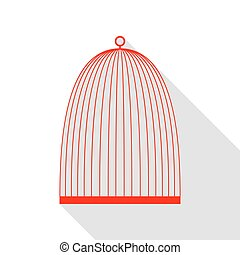 Bird cage sign. Red icon with flat style shadow path.
