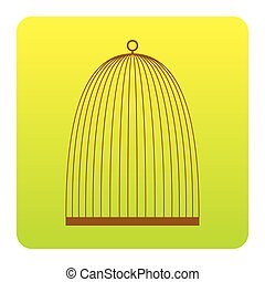 Bird cage sign. Vector. Brown icon at green-yellow gradient square with rounded corners on white background. Isolated.