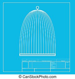 Bird cage sign. White section of icon on blueprint template.